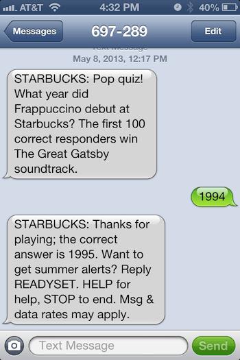 Starbucks Sms Marketing Gamification