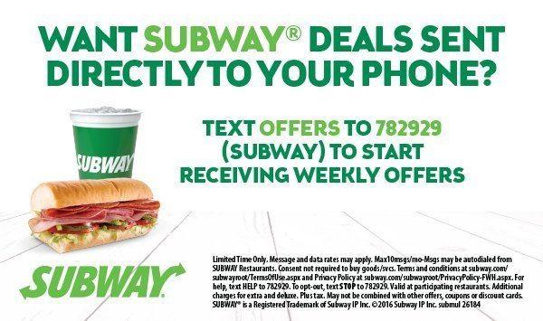 Subway Text Message Short Code